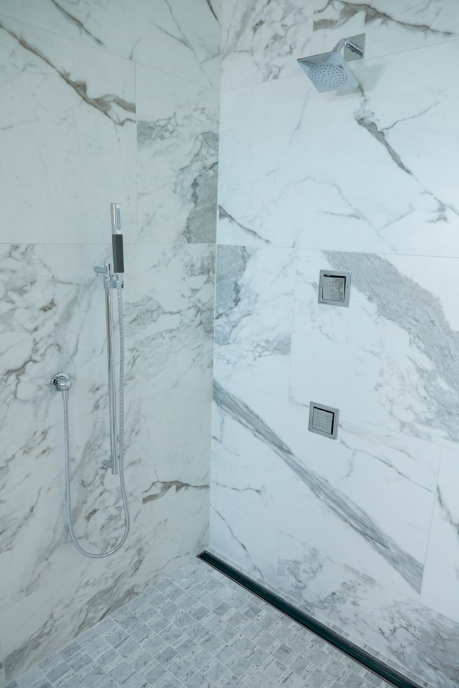 daltile marble attache calacatta shower walls