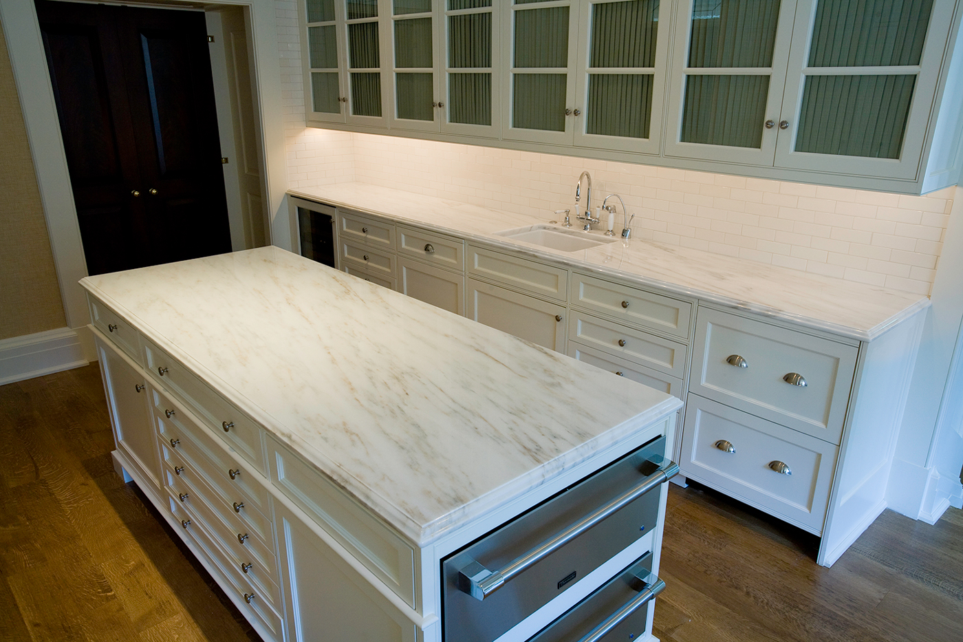 White Danby Marble Kitchen