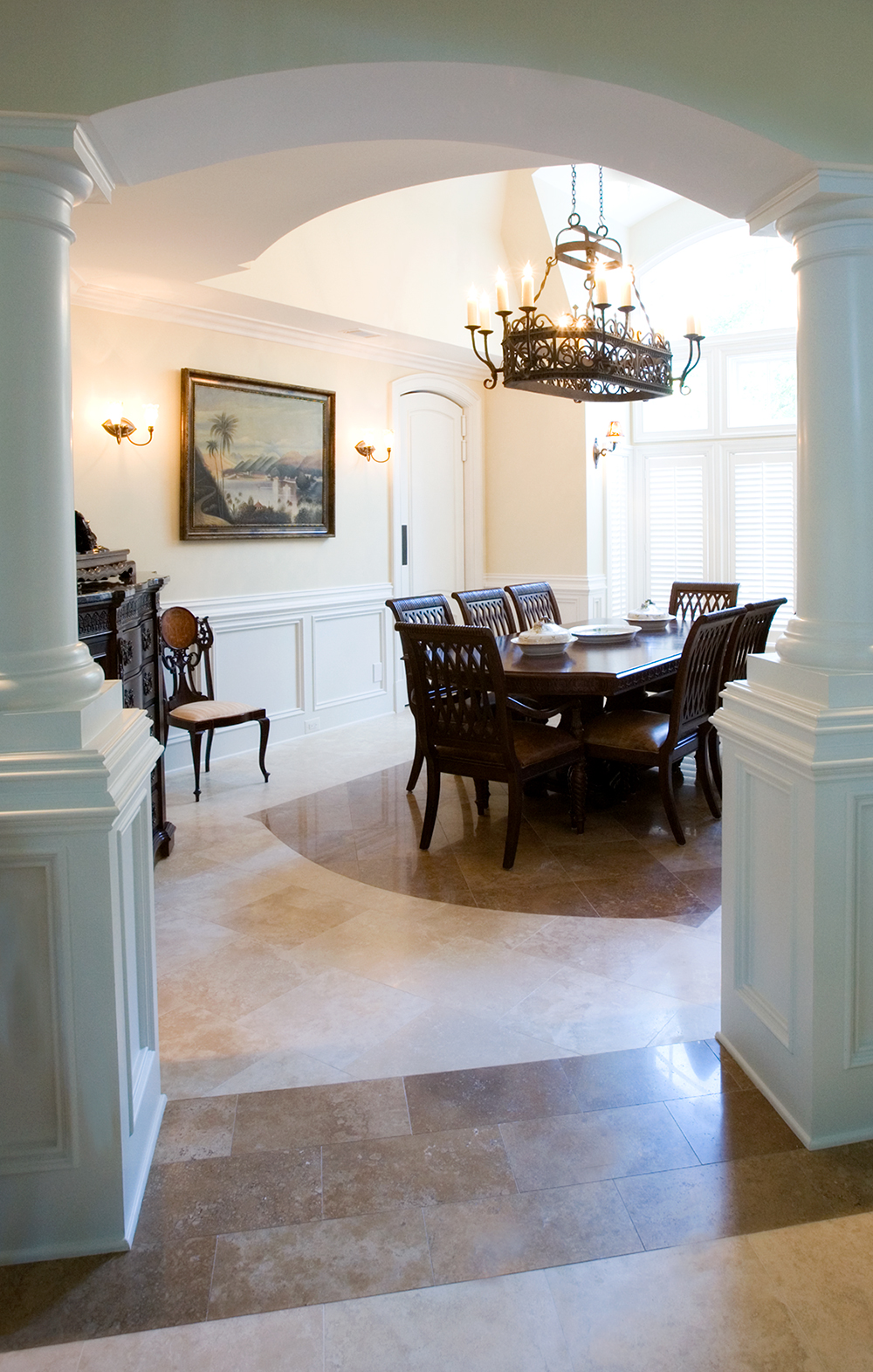 Limestone Tile Dining Floor
