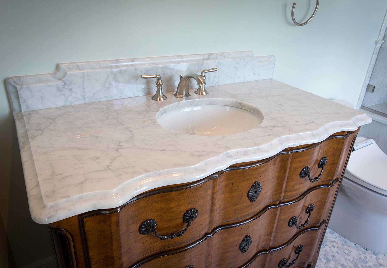 White Carrara Marble Ogee Edge Vanity