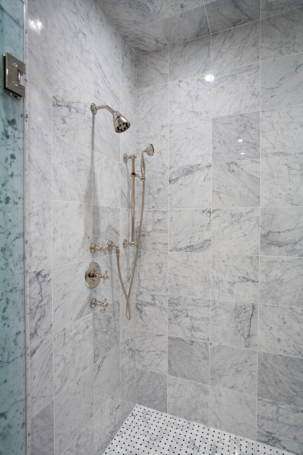 White Carrara Marble Shower