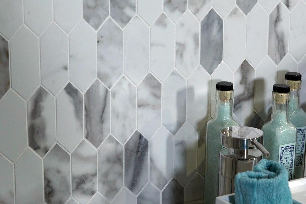 Daltile Marble Attache Calacatta Mosaic Tiles