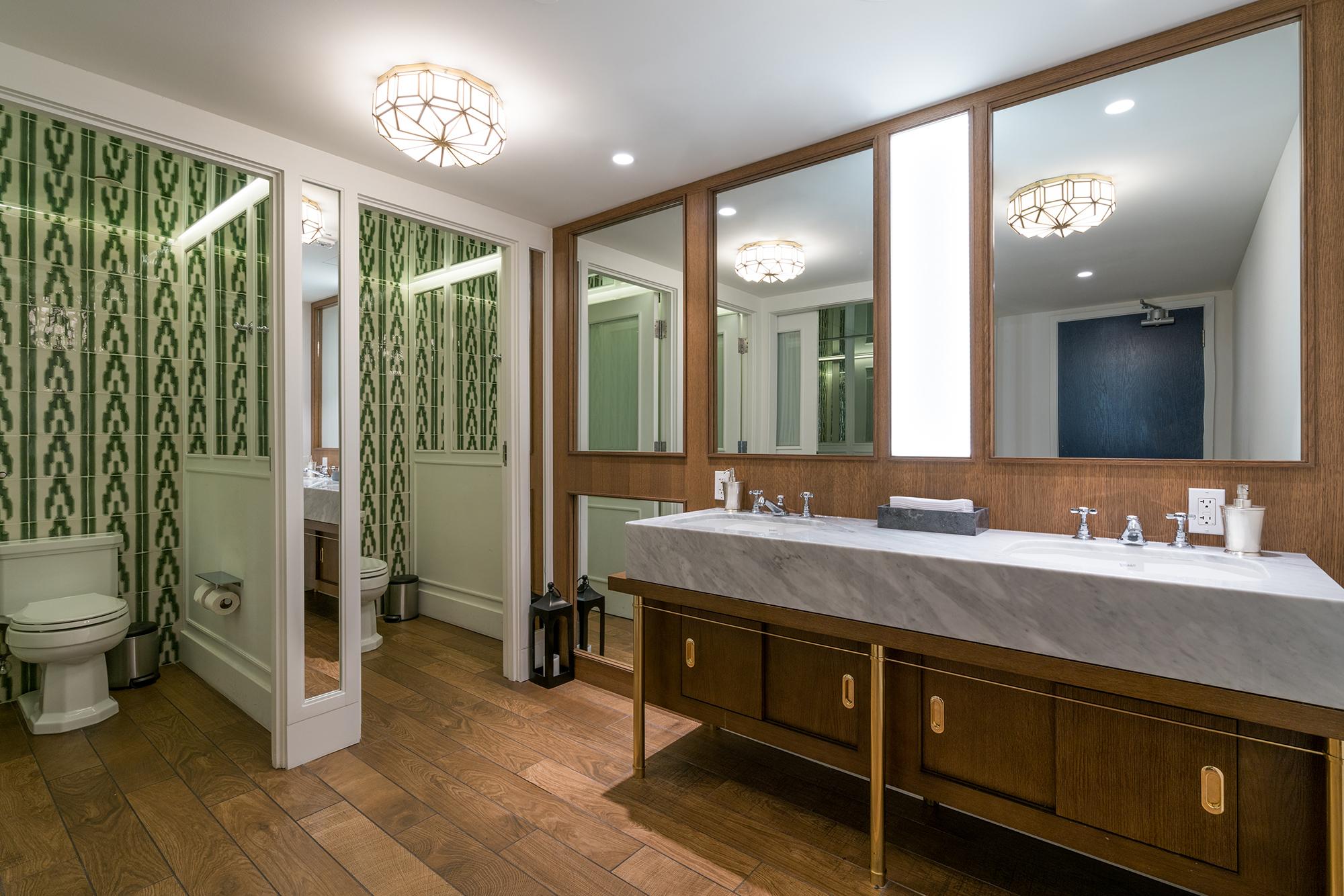 Del Mar restroom  tile white carrara vanity