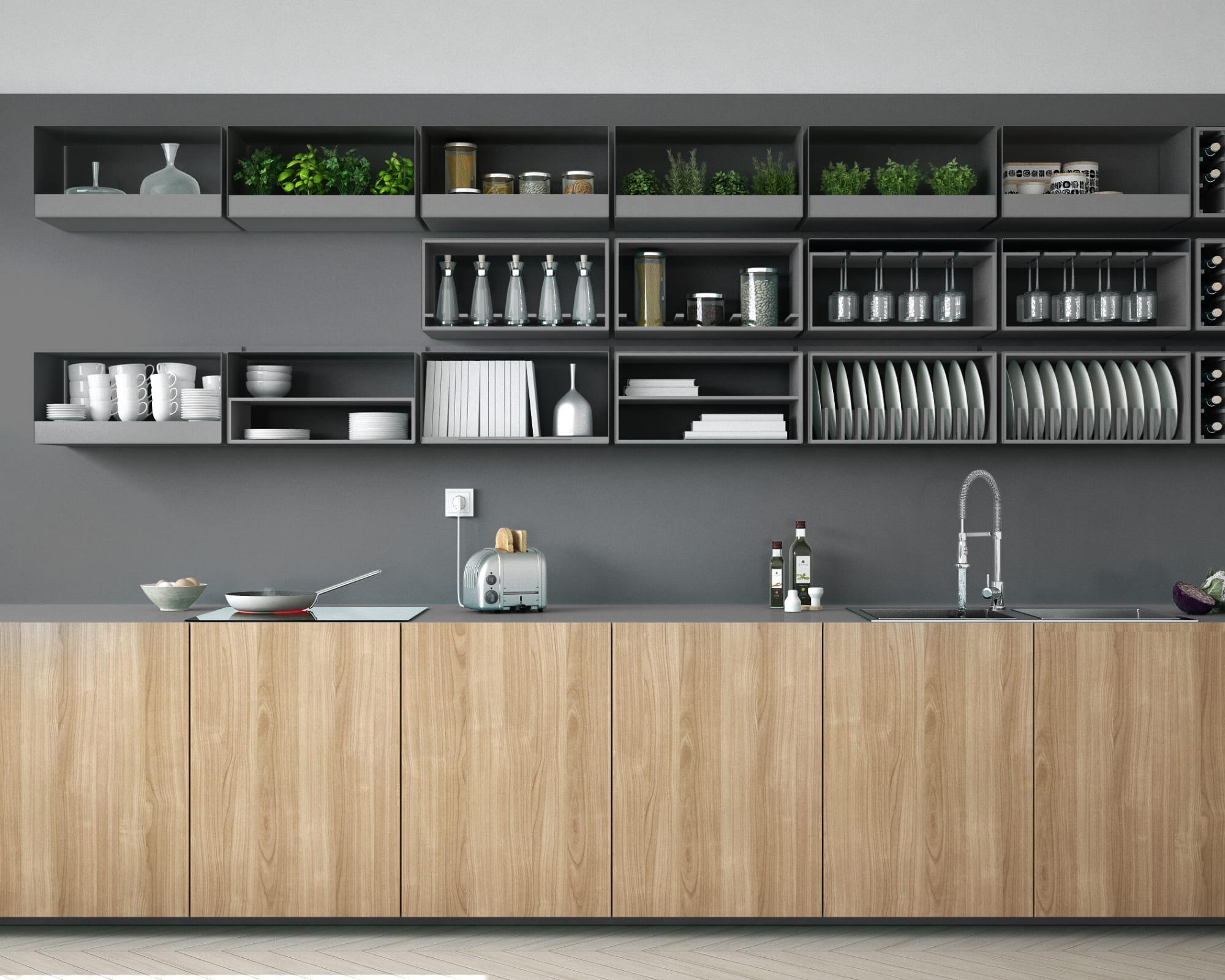 modern cabinets in modern kitchen