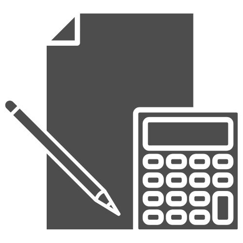 Paper, pen, and calculator icon