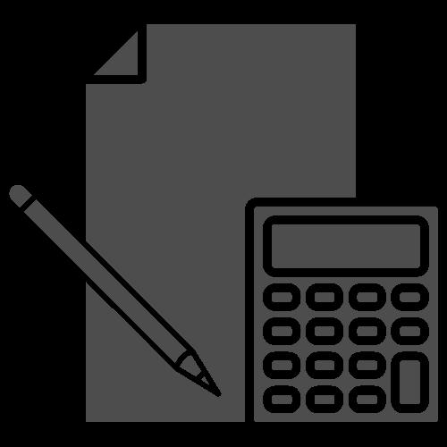 Paper, pen, and calculator icon