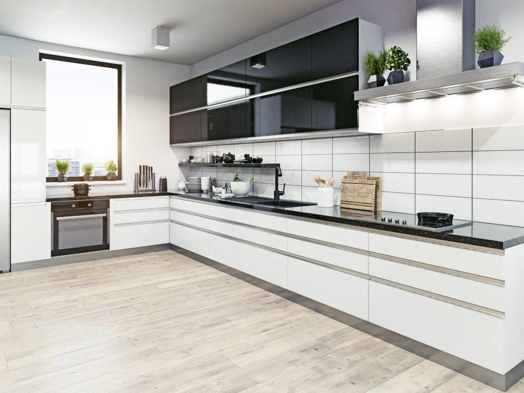 black and white kitchen cabinets and countertops