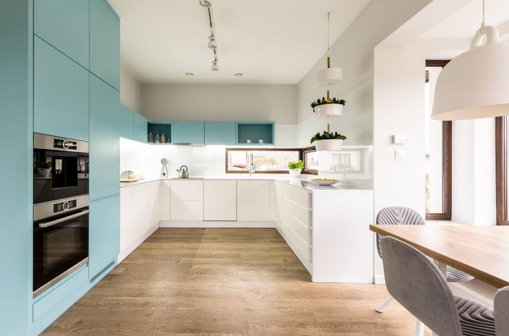 dula tone kitchen cabinets, white with blue