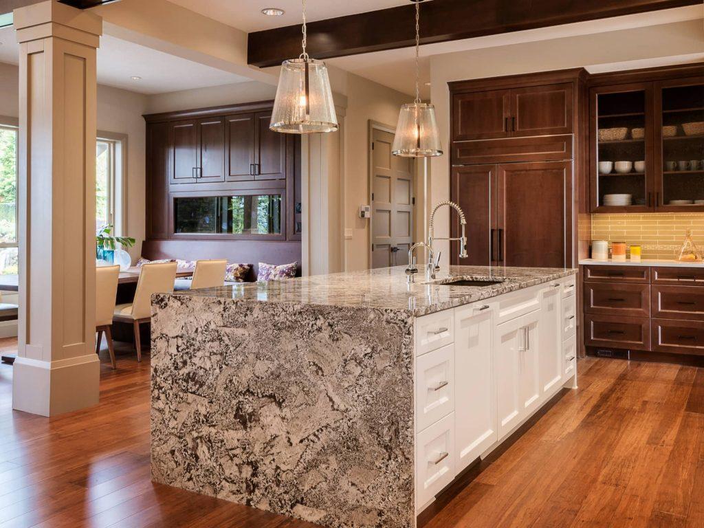 beautiful waterfall countertop kitchen island