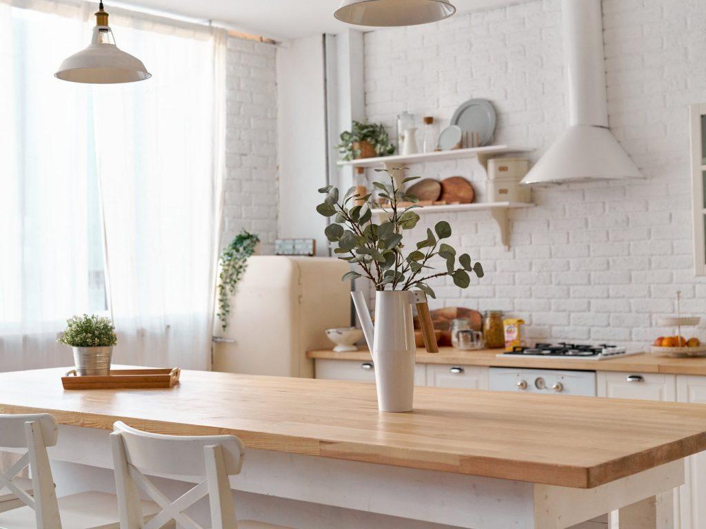 wood countertop kitchen