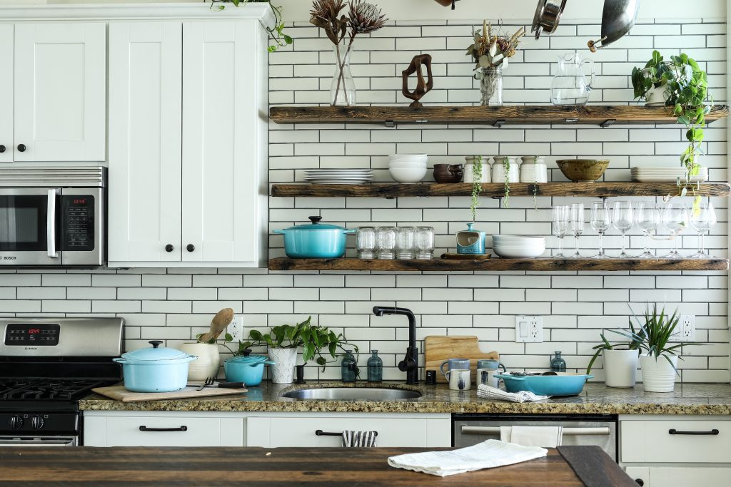 countertop space shelves