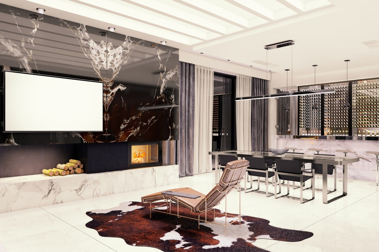 A modern living room with bookmatched slabs on a feature wall