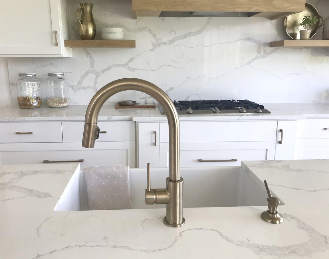 Countertop with a sink showing quartz vs quartzite