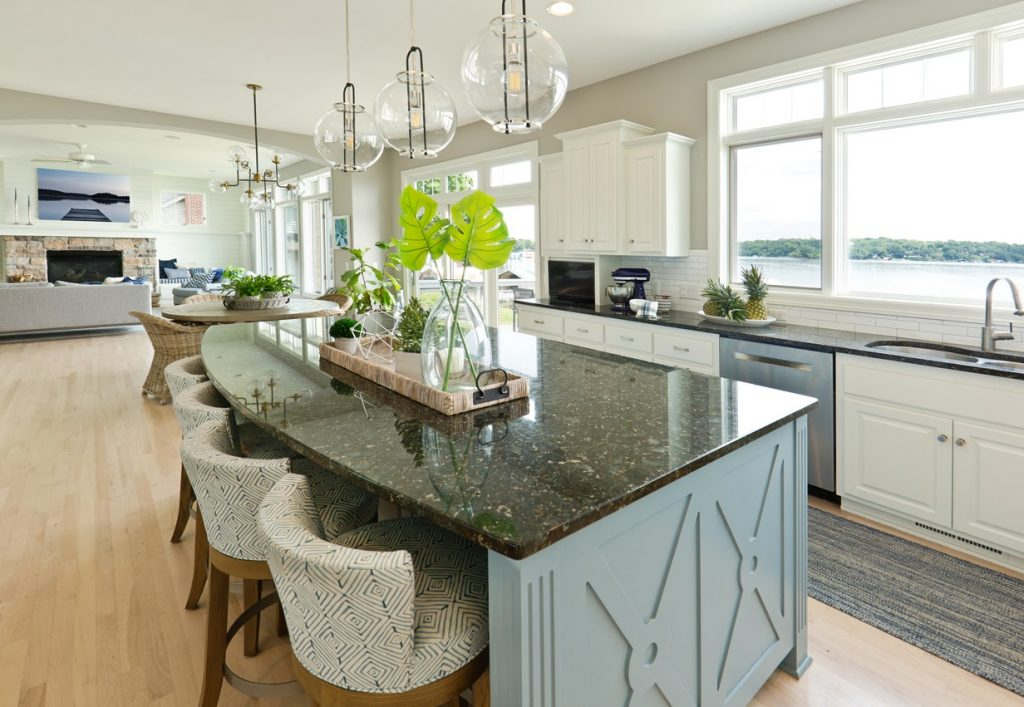 Countertop island in a kitchen