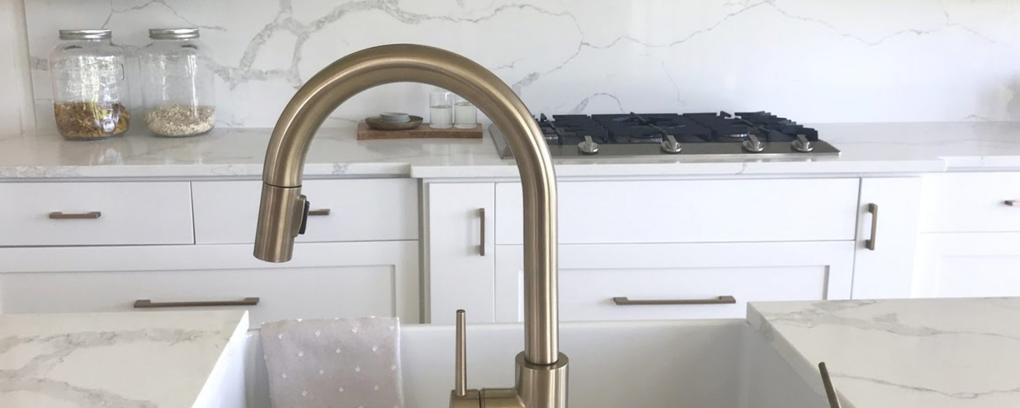 Countertop with a sink showing quartz vs quartzite